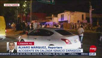 FOTO: Mueren tres personas al derrapar motoneta en Calzada Ignacio Zaragoza, 2 marzo 2019