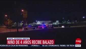 Niño de cuatro años recibe balazo en Dallas, EU
