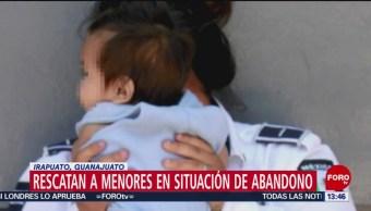 Foto: Policía de Irapuato rescata a 4 niños en situación de abandono