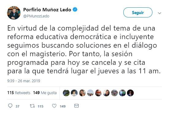 Foto: Se suspende sesión de análisis del dictamen de la reforma educativa 26 marzo 2019
