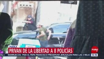 FOTO: Privan de la libertad a 8 policías en Puebla,31 Marzo 2019