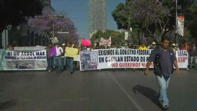 Habitantes de Ocuilan de Arteaga, estado de México, protestan en la Ciudad de México, 27 marzo 2019