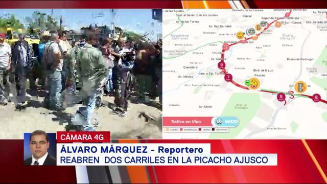 Reabren dos carriles en la Picacho-Ajusco