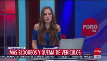 Reportan bloqueos y quema de vehículos en Guanajuato