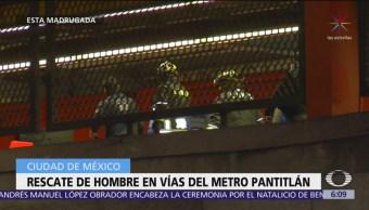 Rescate de hombre en vías del Metro Pantitlán, CDMX