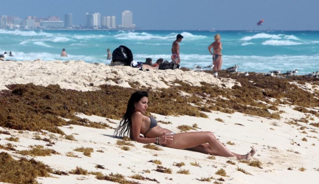 Foto: Vista general del sargazo que comienza a arribar a las playas del centro de Cancún, México, marzo 2 de 2019 (EFE)