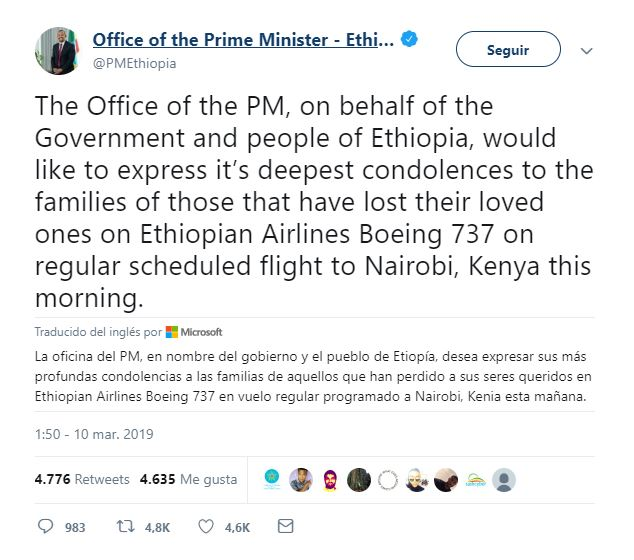 se estrella avion de ethiopian airlines con