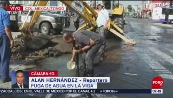 FOTO: Se registra fuga de agua potable en la colonia Mexicaltzingo, 10 marzo 2019