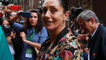 Foto: La jefa de Gobierno, Claudia Sheinbaum, a su llegada al Teatro de la Ciudad, Esperanza Iris, para rendir su informe por los primeros 100 días al frente de la capital, marzo 17 de 2019 (Notimex)