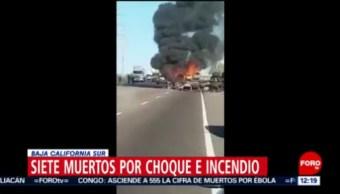 FOTO: Siete muertos por choque e incendio en Baja California Sur, 2 marzo 2019