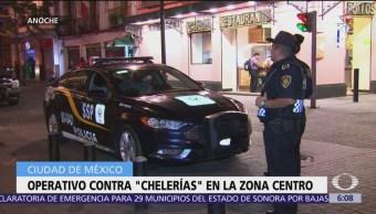 Tercer operativo contra 'chelerías' en la zona Centro de CDMX
