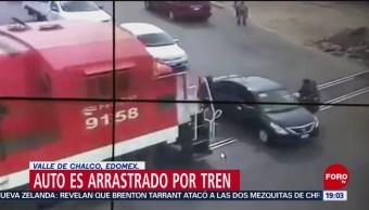 FOTO: Tren embiste a automóvil en Valle de Chalco, Edomex. 16 marzo 2019