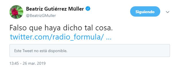 IMAGEN Beatriz Gutiérrez niega haber dicho que españoles son odiados en México Twitter