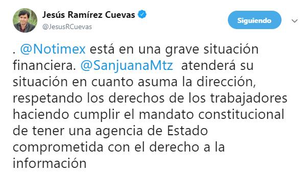 IMAGEN Corresponsales de Notimex denuncian suspensión de salarios (Twitter @JesusRCuevas 18 marzo 2019 cdmx)