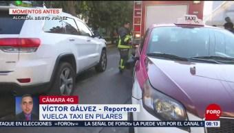 Vuelca taxi en calles de la alcaldía Benito Juárez, CDMX