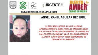 Foto Alerta Amber para localizar a Ángel Kahel Aguilar Becerril 11 abril 2019