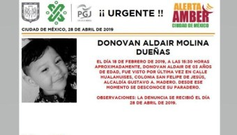 Foto Alerta Amber para localizar a Donovan Aldair Molina Dueña 29 abril 2019