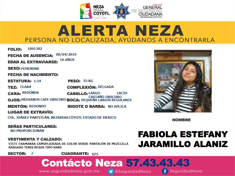 Foto Alerta para localizar a Fabiola Estefany Jaramillo Alanís 9 abril 2019