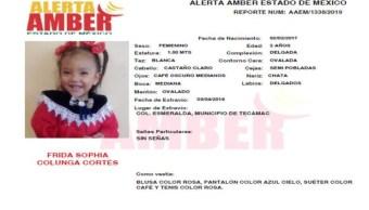 Foto Alerta Amber para localizar a Frida Sophia Colunga Cortés 4 abril 2019
