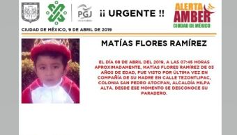 Foto Alerta Amber para localizar a Matías Flores Ramírez 9 abril 2019
