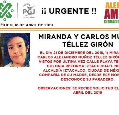 Alerta Amber: Ayuda a localizar a Miranda y Carlos Muñoz Téllez Girón