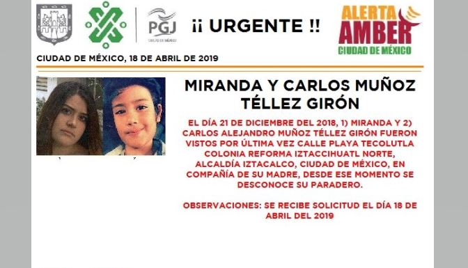 Foto Alerta Amber para localizar a Miranda y Carlos Muñoz Téllez 18 abril 2019