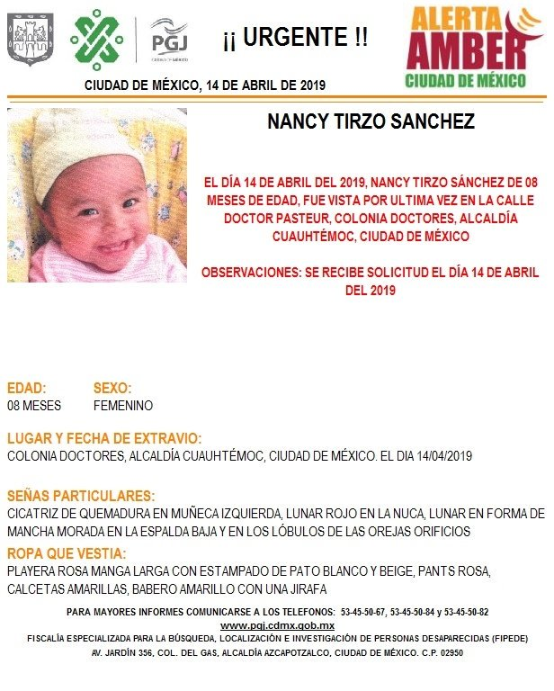 Foto Alerta Amber para localizar a Nancy Tirzo Sánchez 15 abril 2019