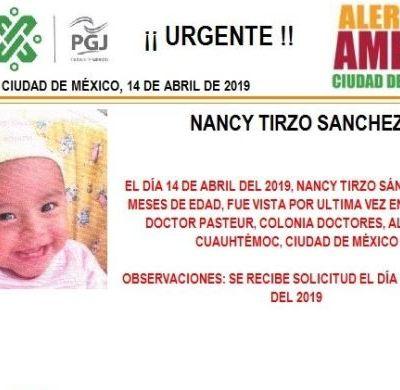 Alerta Amber: Ayuda a localizar a Nancy Tirzo Sánchez
