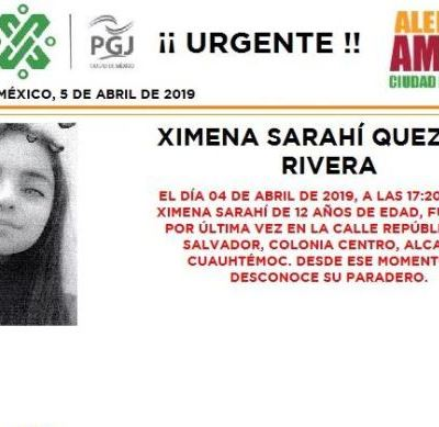Alerta Amber: Ayuda a localizar a Ximena Sarahí Quezada Rivera