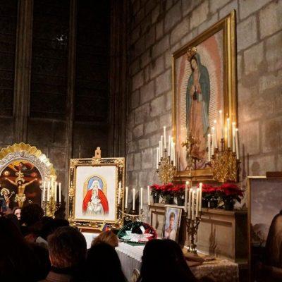 Altar de la Virgen de Guadalupe en Notre Dame, intacto tras incendio