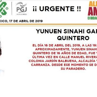 Alerta Amber: Ayuda a localizar a Yunuen Sinahí García Quintero