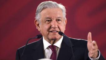 Foto:El presidente de México, Andrés Manuel López Obrador, durante su conferencia de prensa matutina, 12 abril 2019