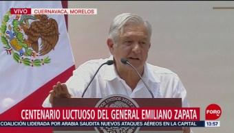 Foto: AMLO conmemora el centenario luctuoso de Emiliano Zapata