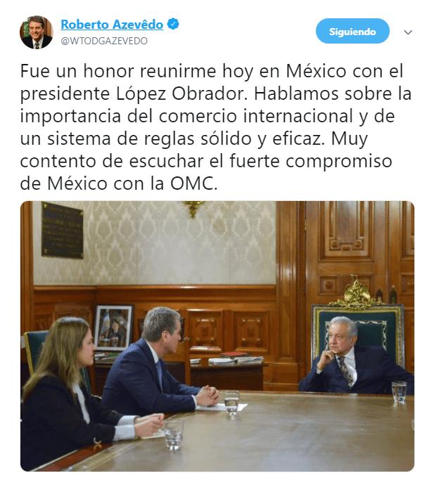 FOTO AMLO se reúne con el director de la OMC, Roberto Azevedo, en Palacio Nacional (@WTODGAZEVEDO 4 abril 2019 cdmx