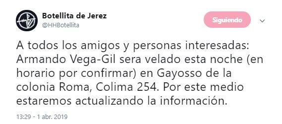 Foto Armando Vega Gil será velado este lunes en Gayosso 1 abril 2019
