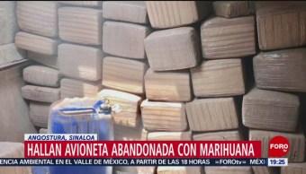FOTO: Aseguran avioneta con casi media tonelada de marihuana en Sinaloa, 18 ABRIL 2019