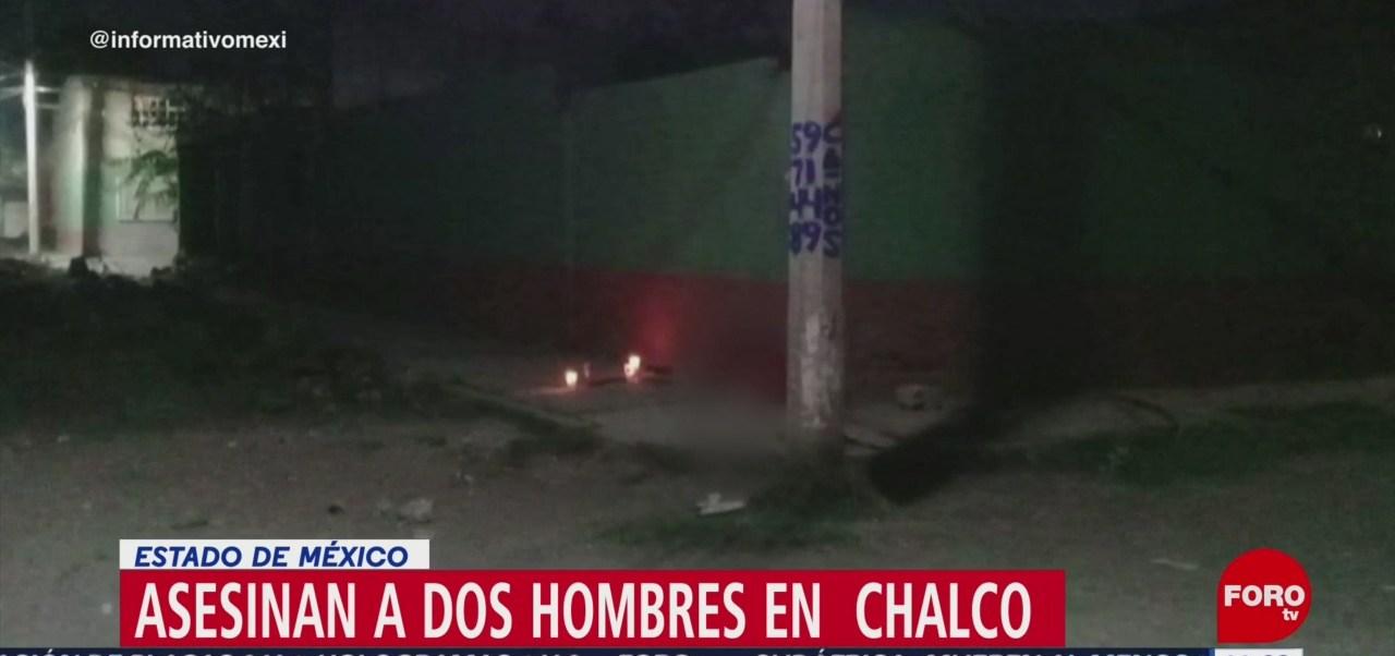 Asesinan a dos hombres en Chalco, Estado de México