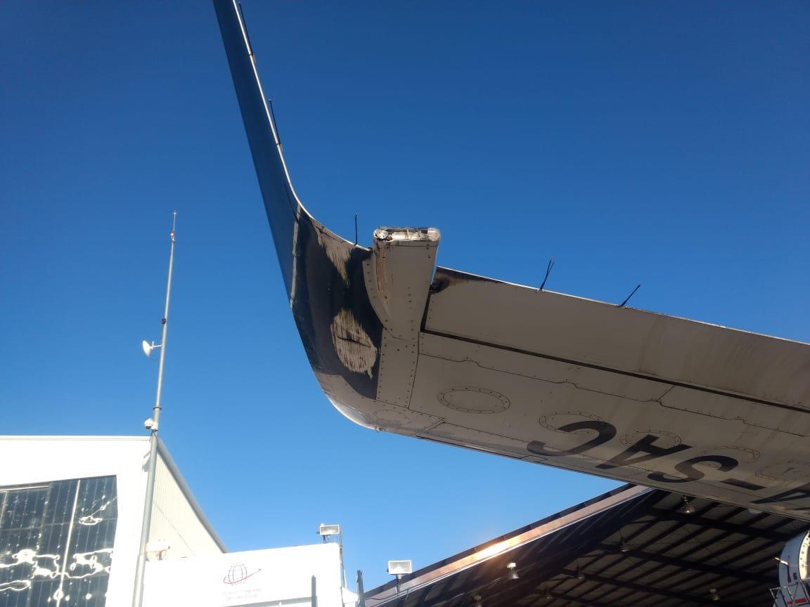FOTO Avión de Aeroméxico impactó un ala en el aeropuerto de Chihuahua (fsmex.com abril 2019 chihuahua)