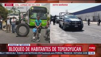 Foto: Bloqueo de habitantes de Tepexoyucan, Edomex