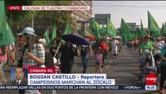 Foto: Campesinos marchan sobre Calzada de Tlalpan por centenario luctuoso de Zapata