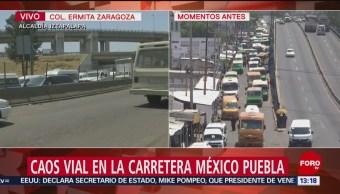 Foto: Caos vial en carretera México-Puebla