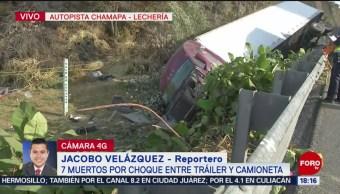 Foto: Caos vial por choque de tráiler en la Chamapa-Lechería