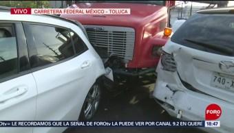 Foto: Choque múltiple en carretera México-Toluca deja 8 lesionados