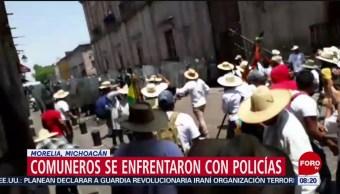 FOTO: Comuneros se enfrentaron con policías en Morelia, 6 de abril 2019