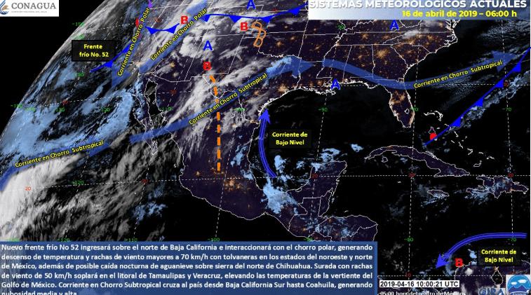 Imagen: Mapa satelital Conagua, frente frío 52, 16 de abril de 2019, México
