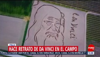 Crean retrato de Leonardo DaVinci en campo de cultivo