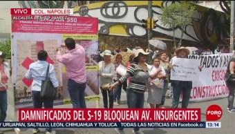 Damnificados del 19s bloquean avenida Insurgentes