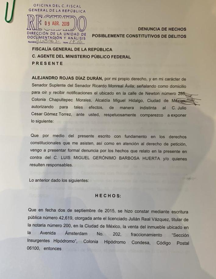 Denuncia de Alejandro Rojas Díaz Durán