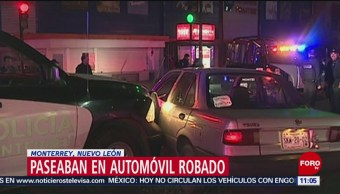 Detienen a hombre a bordo de un automóvil robado en NL