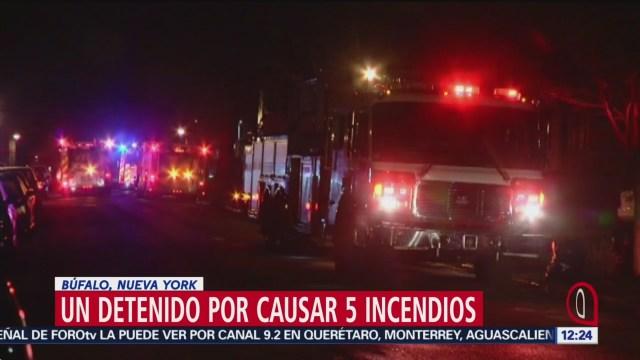 Detienen a una persona por causar 5 incendios en Búfalo, Nueva York